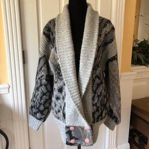 Animal Print Patchwork Wool Sweater Coat